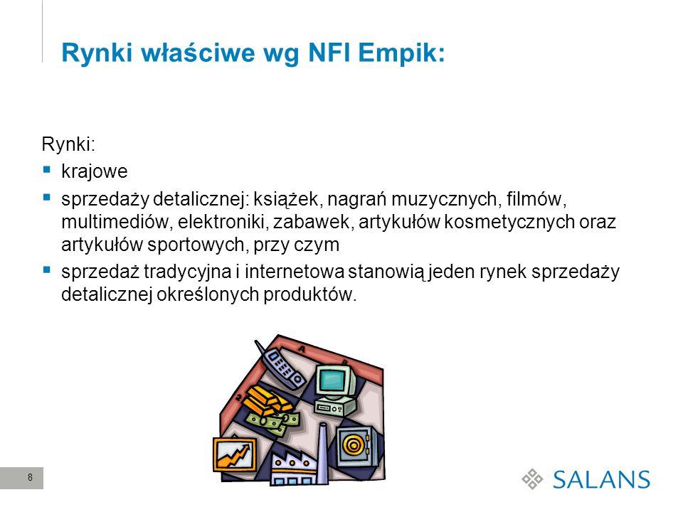 8 Rynki właściwe wg NFI Empik: Rynki: krajowe sprzedaży detalicznej: książek, nagrań muzycznych, filmów, multimediów, elektroniki, zabawek, artykułów
