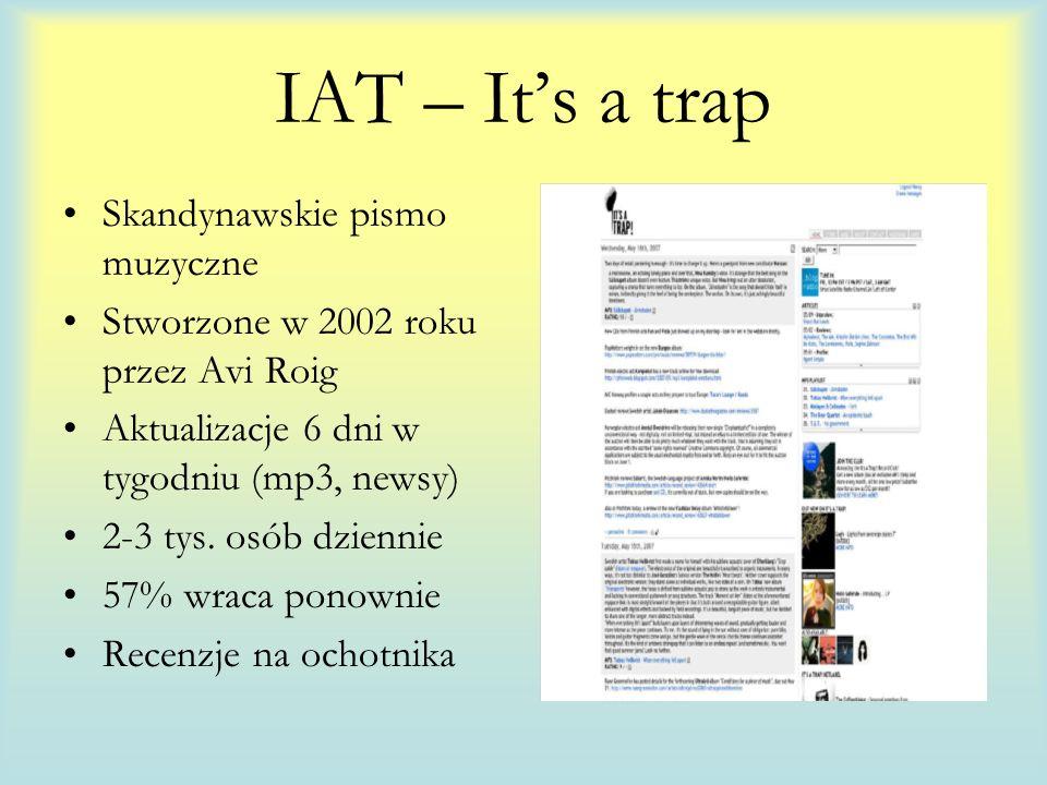 IAT – Its a trap Skandynawskie pismo muzyczne Stworzone w 2002 roku przez Avi Roig Aktualizacje 6 dni w tygodniu (mp3, newsy) 2-3 tys.
