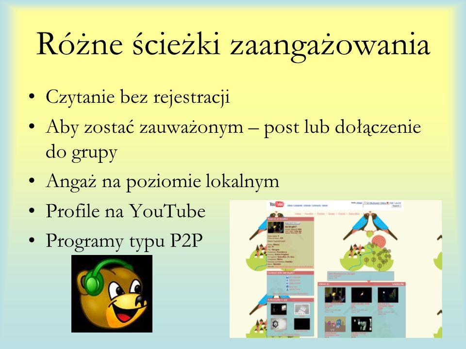 Różne ścieżki zaangażowania Czytanie bez rejestracji Aby zostać zauważonym – post lub dołączenie do grupy Angaż na poziomie lokalnym Profile na YouTube Programy typu P2P