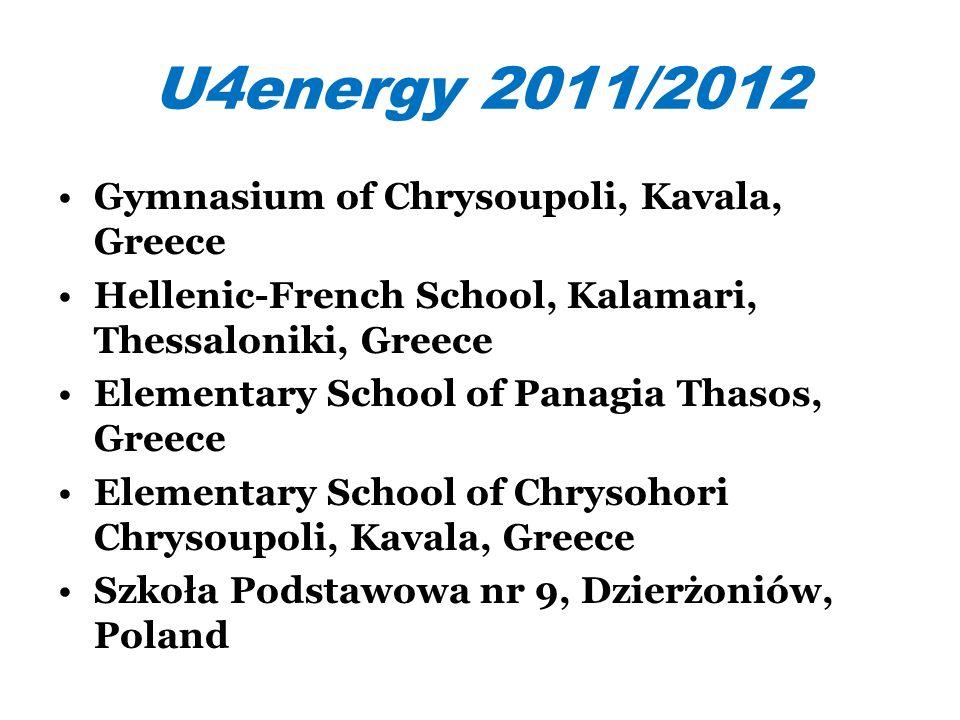 U4energy 2011/2012 Gymnasium of Chrysoupoli, Kavala, Greece Hellenic-French School, Kalamari, Thessaloniki, Greece Elementary School of Panagia Thasos