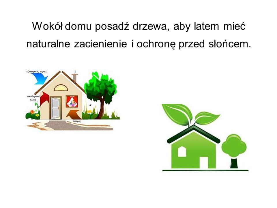 Wokół domu posadź drzewa, aby latem mieć naturalne zacienienie i ochronę przed słońcem.