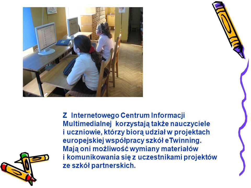 Z Internetowego Centrum Informacji Multimedialnej korzystają także nauczyciele i uczniowie, którzy biorą udział w projektach europejskiej współpracy szkół eTwinning.