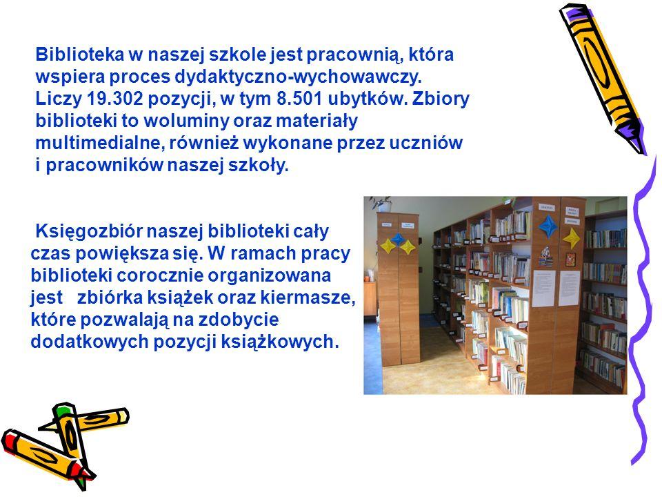 Biblioteka w naszej szkole jest pracownią, która wspiera proces dydaktyczno-wychowawczy.