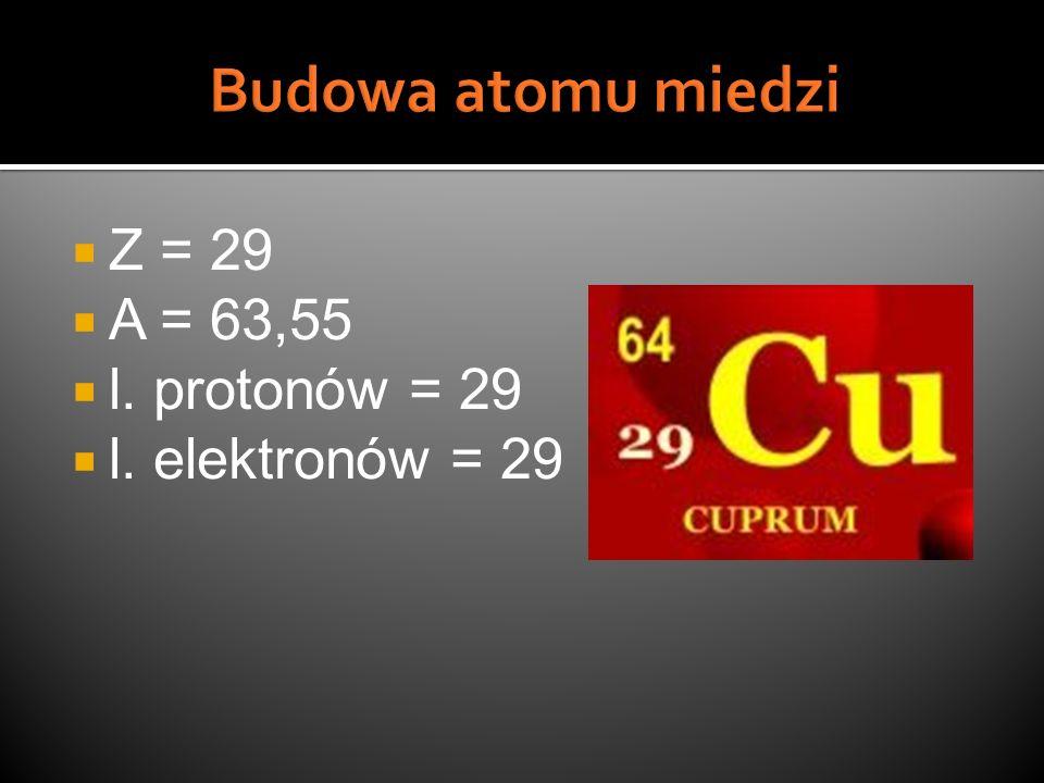 Z = 29 A = 63,55 l. protonów = 29 l. elektronów = 29