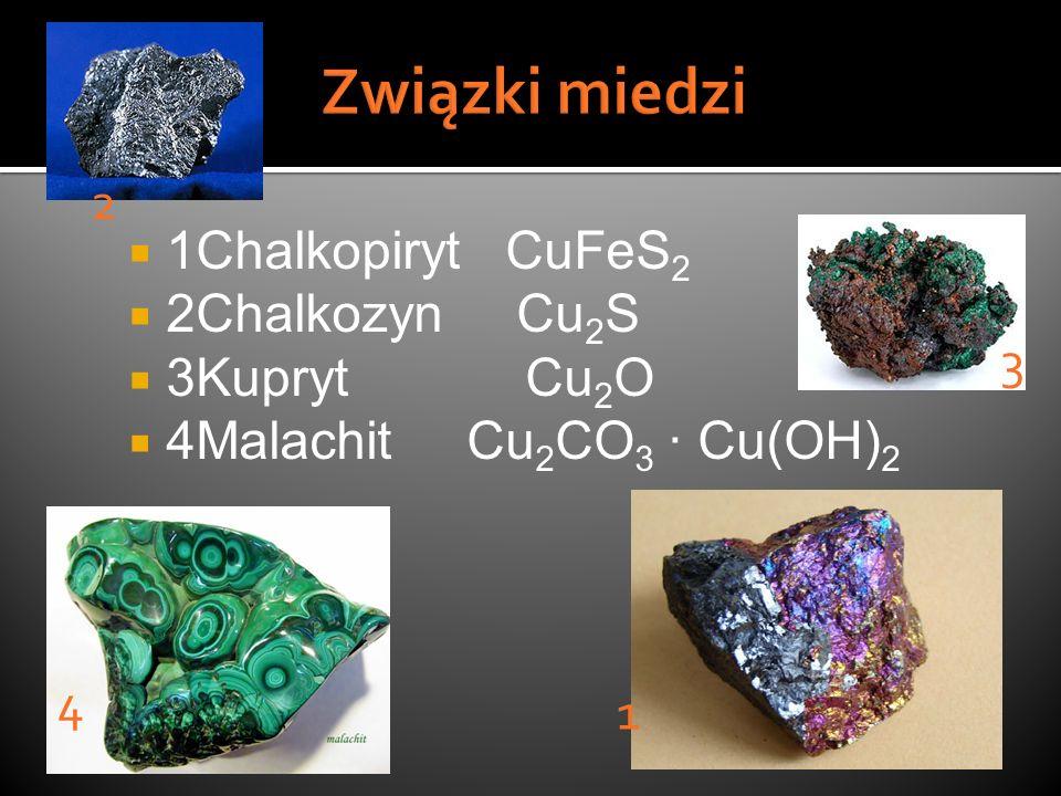 1Chalkopiryt CuFeS 2 2Chalkozyn Cu 2 S 3Kupryt Cu 2 O 4Malachit Cu 2 CO 3 · Cu(OH) 2 4 3 1 2