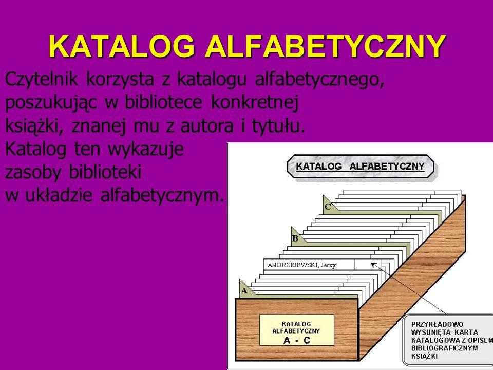 KATALOG ALFABETYCZNY Czytelnik korzysta z katalogu alfabetycznego, poszukując w bibliotece konkretnej książki, znanej mu z autora i tytułu. Katalog te