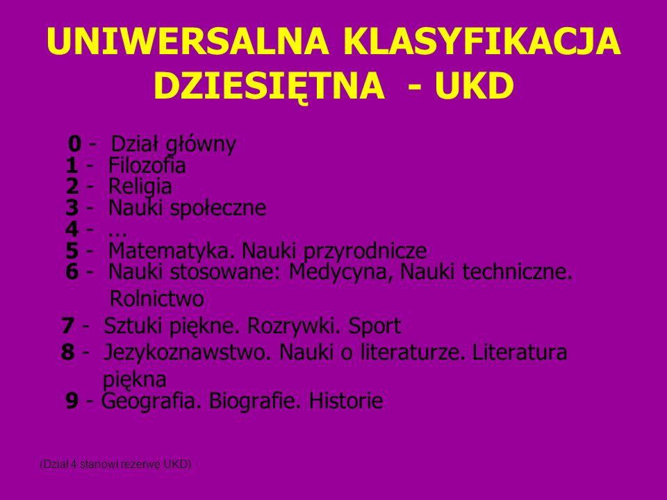 UNIWERSALNA KLASYFIKACJA DZIESIĘTNA - UKD 0 - Dział główny 1 - Filozofia 2 - Religia 3 - Nauki społeczne 4 -... 5 - Matematyka. Nauki przyrodnicze 6 -