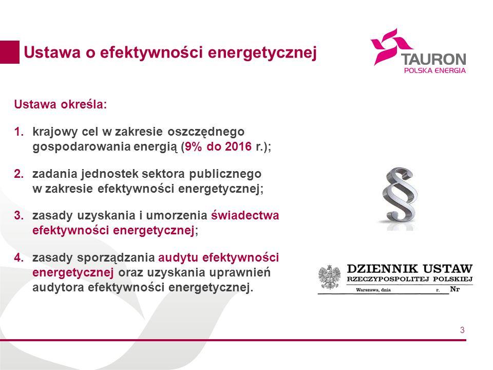 3 Ustawa określa: 1.krajowy cel w zakresie oszczędnego gospodarowania energią (9% do 2016 r.); 2.zadania jednostek sektora publicznego w zakresie efek