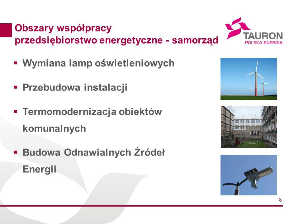 8 Obszary współpracy przedsiębiorstwo energetyczne - samorząd Wymiana lamp oświetleniowych Przebudowa instalacji Termomodernizacja obiektów komunalnyc