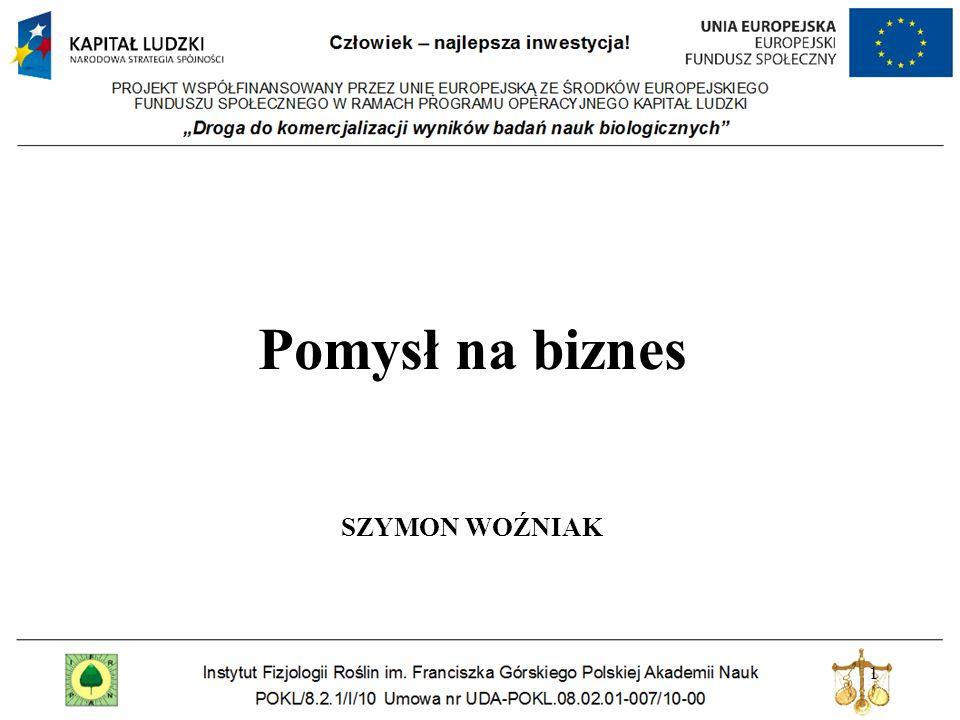 Pomysł na biznes SZYMON WOŹNIAK 1