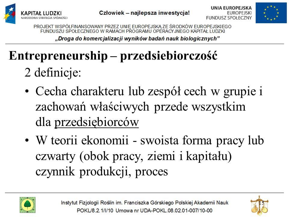 Entrepreneurship – przedsiebiorczość 2 definicje: Cecha charakteru lub zespół cech w grupie i zachowań właściwych przede wszystkim dla przedsiębiorców W teorii ekonomii - swoista forma pracy lub czwarty (obok pracy, ziemi i kapitału) czynnik produkcji, proces 15