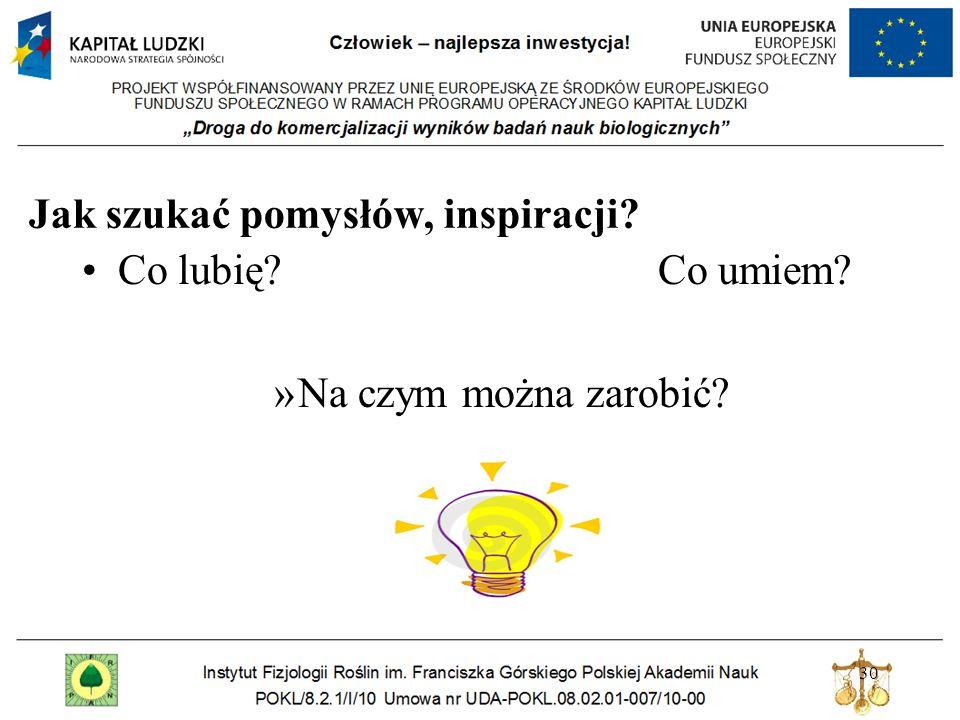 Jak szukać pomysłów, inspiracji? 30 Co lubię? Co umiem? »Na czym można zarobić?
