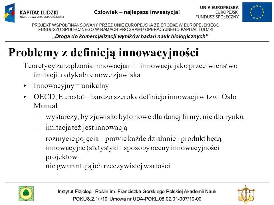 Problemy z definicją innowacyjności Teoretycy zarządzania innowacjami – innowacja jako przeciwieństwo imitacji, radykalnie nowe zjawiska Innowacyjny = unikalny OECD, Eurostat – bardzo szeroka definicja innowacji w tzw.