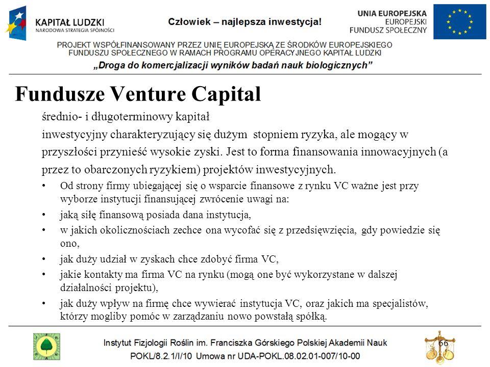 Fundusze Venture Capital średnio- i długoterminowy kapitał inwestycyjny charakteryzujący się dużym stopniem ryzyka, ale mogący w przyszłości przynieść wysokie zyski.