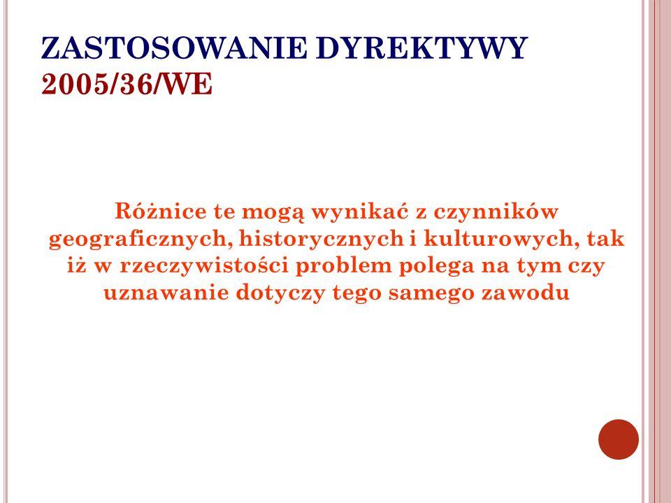 ZASTOSOWANIE DYREKTYWY 2005/36/WE Różnice te mogą wynikać z czynników geograficznych, historycznych i kulturowych, tak iż w rzeczywistości problem pol