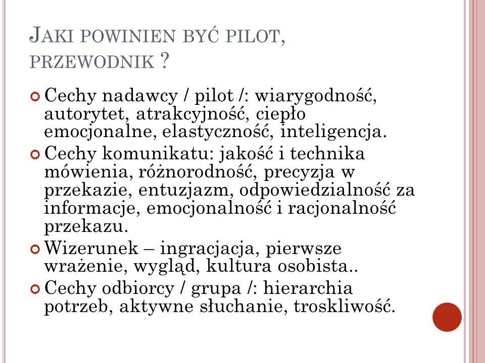 J AKI POWINIEN BYĆ PILOT, PRZEWODNIK ? Cechy nadawcy / pilot /: wiarygodność, autorytet, atrakcyjność, ciepło emocjonalne, elastyczność, inteligencja.