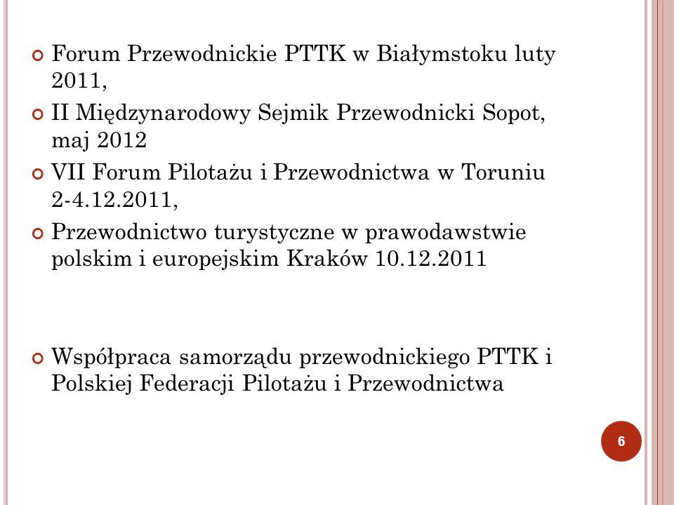 Forum Przewodnickie PTTK w Białymstoku luty 2011, II Międzynarodowy Sejmik Przewodnicki Sopot, maj 2012 VII Forum Pilotażu i Przewodnictwa w Toruniu 2