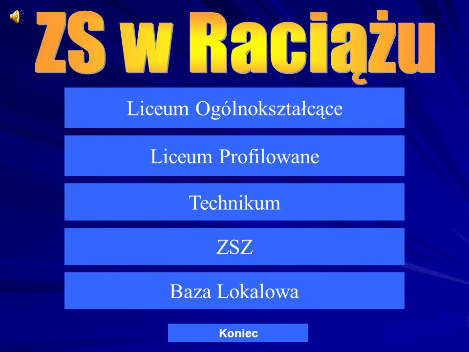 Liceum Ogólnokształcące Liceum Profilowane Technikum ZSZ Baza Lokalowa Koniec