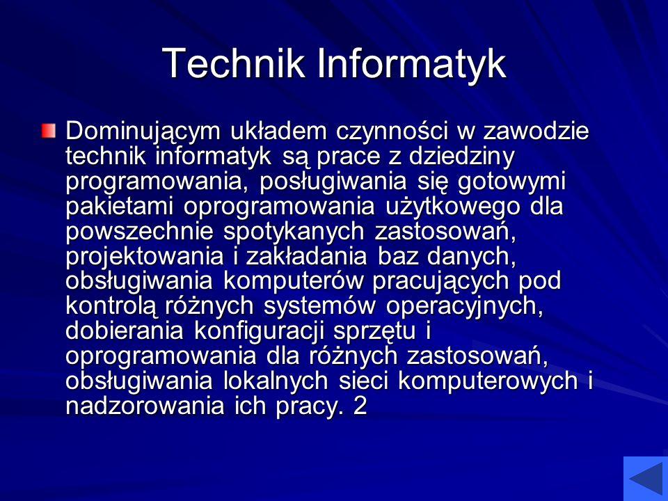Technik Informatyk Dominującym układem czynności w zawodzie technik informatyk są prace z dziedziny programowania, posługiwania się gotowymi pakietami