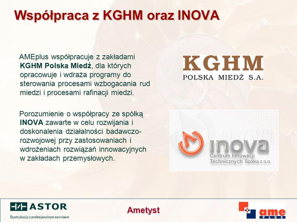 Dystrybucja z profesjonalnym serwisem Ametyst Współpraca z KGHM oraz INOVA AMEplus współpracuje z zakładami KGHM Polska Miedź, dla których opracowuje i wdraża programy do sterowania procesami wzbogacania rud miedzi i procesami rafinacji miedzi.