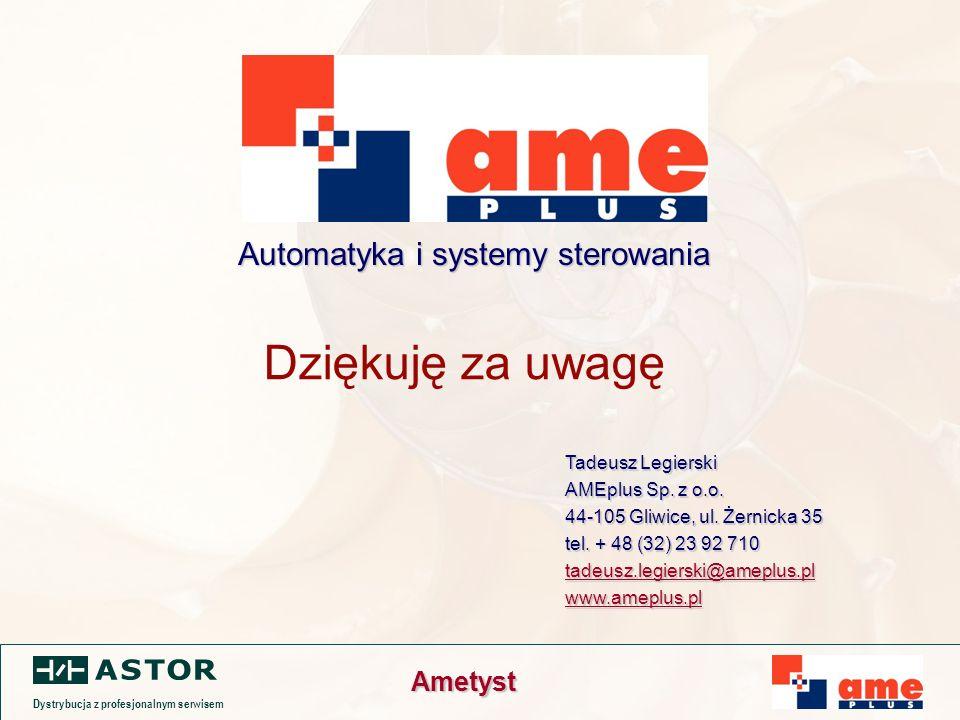 Dystrybucja z profesjonalnym serwisem Ametyst Dziękuję za uwagę Tadeusz Legierski AMEplus Sp.