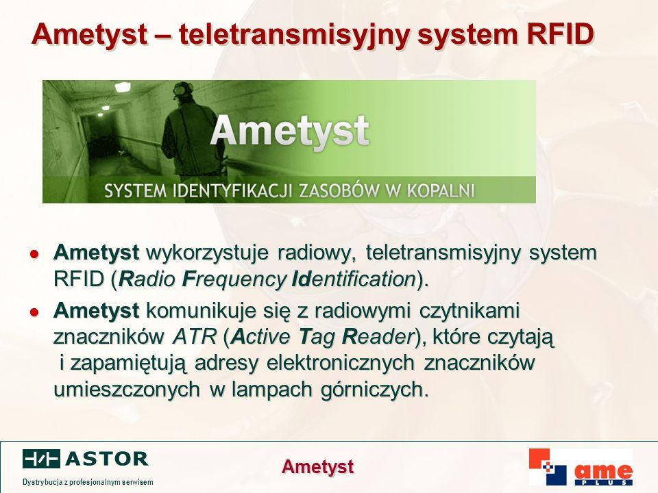 Dystrybucja z profesjonalnym serwisem Ametyst Ametyst – teletransmisyjny system RFID Ametyst wykorzystuje radiowy, teletransmisyjny system RFID (Radio Frequency Identification).