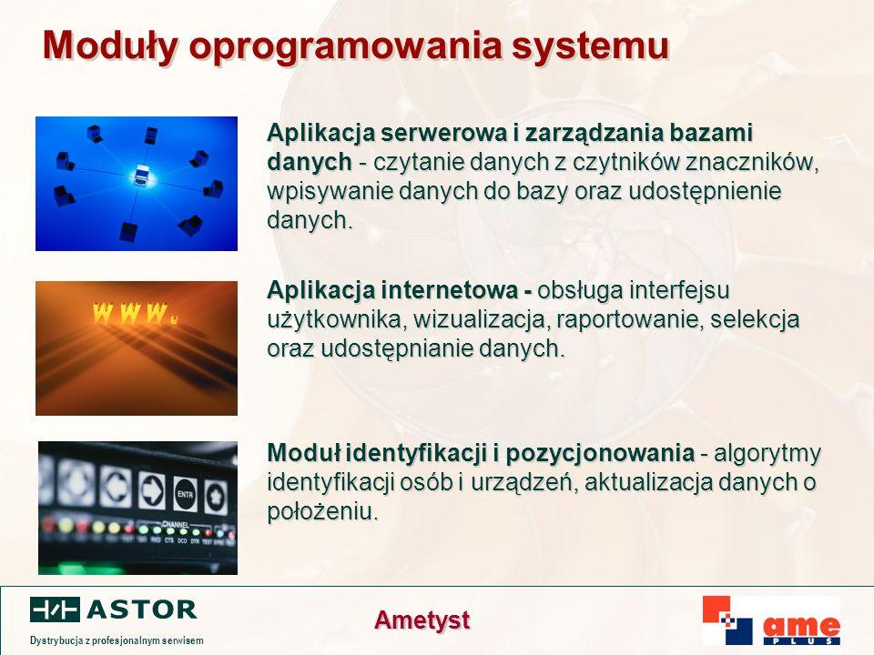 Dystrybucja z profesjonalnym serwisem Ametyst Moduły oprogramowania systemu Aplikacja serwerowa i zarządzania bazami danych - czytanie danych z czytników znaczników, wpisywanie danych do bazy oraz udostępnienie danych.