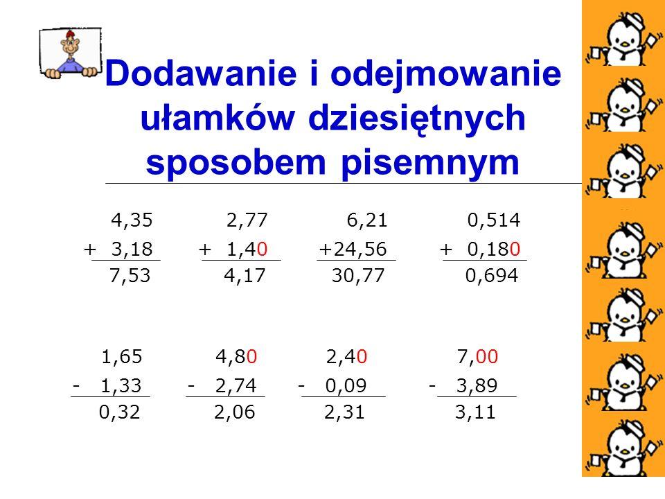 6,21 +24,56 30,77 Dodawanie i odejmowanie ułamków dziesiętnych sposobem pisemnym 2,77 + 1,40 4,17 0,514 + 0,180 0,694 4,35 + 3,18 7,53 1,65 - 1,33 0,32 4,80 - 2,74 2,06 2,40 - 0,09 2,31 7,00 - 3,89 3,11