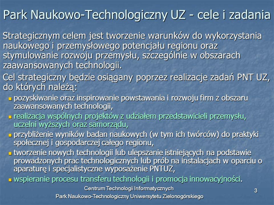 Centrum Technologii Informatycznych Park Naukowo-Technologiczny Uniwersytetu Zielonogórskiego 3 Park Naukowo-Technologiczny UZ - cele i zadania Strate