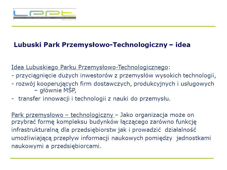 Lubuski Park Przemysłowo – Technologiczny – Podsumowanie Lubuski Park Przemysłowo - Technologiczny to: - dobra lokalizacja, - uzbrojony teren, - dostępna wykształcona kadra, - dostęp do ośrodków badawczo-rozwojowych - ulgi podatkowe, - niska cena, - perspektywy rozwoju, - obsługa administracyjna projektów inwestycyjnych, - inicjatywy okołobiznesowe – Lubuski Klaster Elektrotechniki Informatyki i Telekomunikacji.