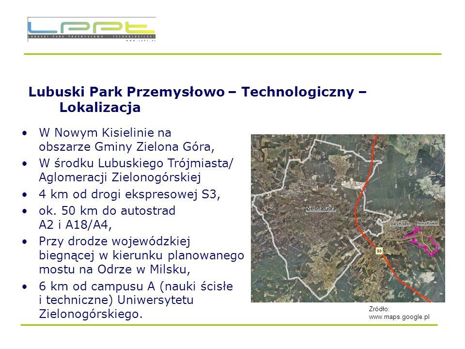 Lubuski Park Przemysłowo – Technologiczny – Lokalizacja/ podział funkcjonalny Powierzchnia – 167,81 ha (Możliwość powiększenia) Park Naukowo- Technologiczny - 41 ha Park Przemysłowo – Technologiczny 126 ha (123 ha w SSE)