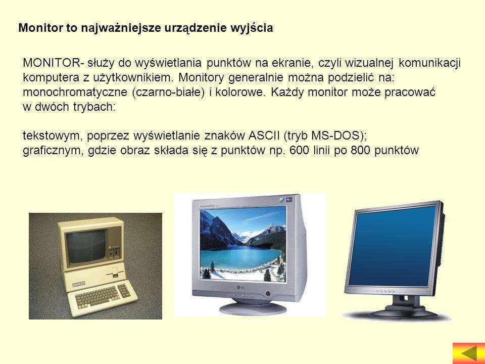 Monitor to najważniejsze urządzenie wyjścia służy do wyświetlania punktów na ekranie, czyli wizualnej komunikacji komputera z użytkownikiem. Monitory