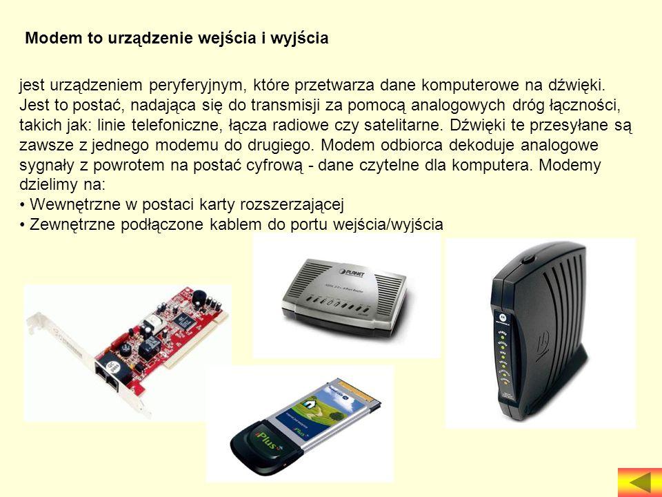 Modem to urządzenie wejścia i wyjścia jest urządzeniem peryferyjnym, które przetwarza dane komputerowe na dźwięki. Jest to postać, nadająca się do tra