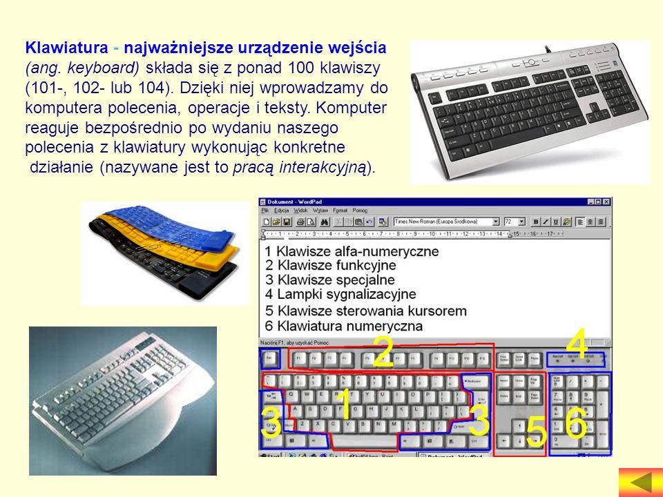 Klawiatura - najważniejsze urządzenie wejścia (ang. keyboard) składa się z ponad 100 klawiszy (101-, 102- lub 104). Dzięki niej wprowadzamy do kompute