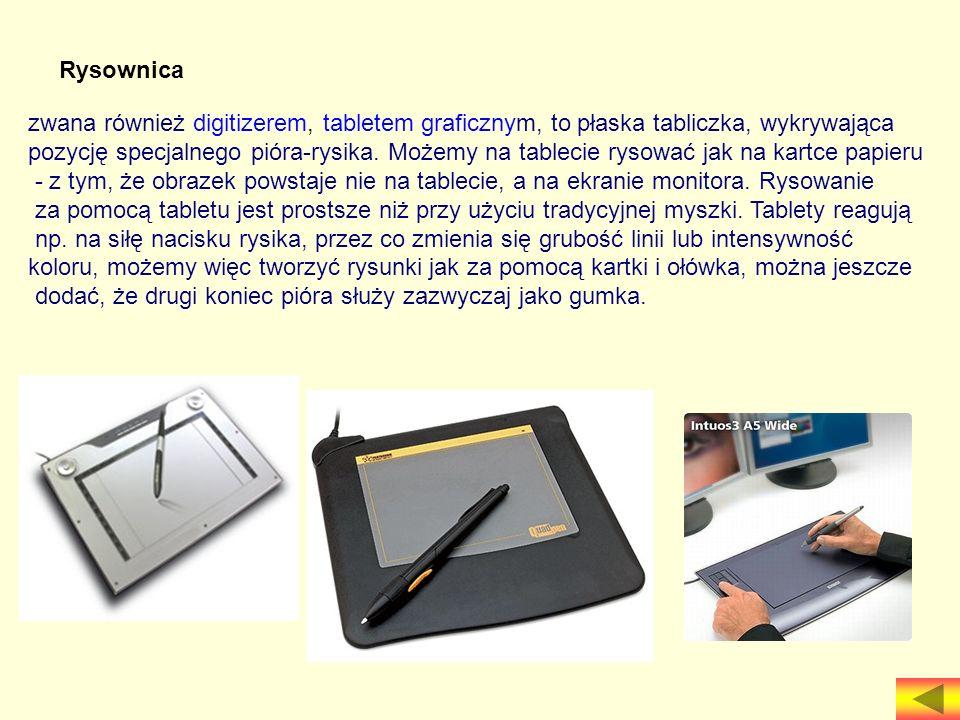 Rysownica zwana również digitizerem, tabletem graficznym, to płaska tabliczka, wykrywająca pozycję specjalnego pióra-rysika. Możemy na tablecie rysowa