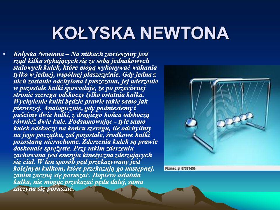 KOŁYSKA NEWTONA Kołyska Newtona – Na nitkach zawieszony jest rząd kilku stykających się ze sobą jednakowych stalowych kulek, które mogą wykonywać waha