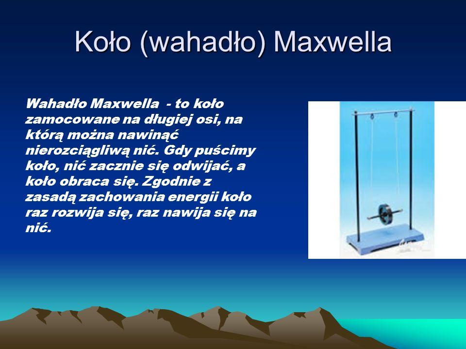 Koło (wahadło) Maxwella Wahadło Maxwella - to koło zamocowane na długiej osi, na którą można nawinąć nierozciągliwą nić. Gdy puścimy koło, nić zacznie