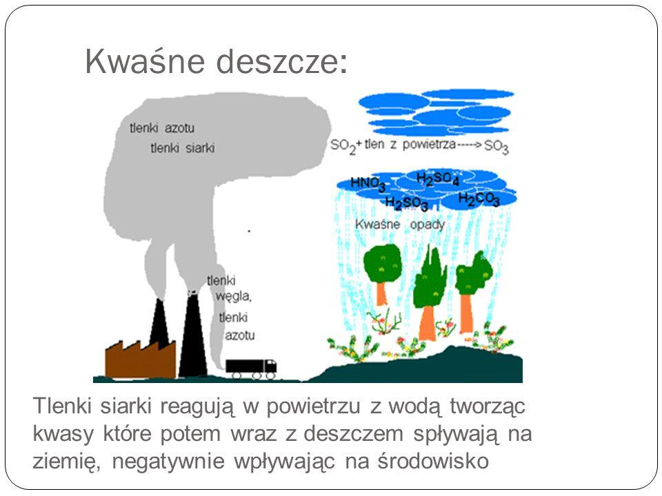 Tlenki siarki reagują w powietrzu z wodą tworząc kwasy które potem wraz z deszczem spływają na ziemię, negatywnie wpływając na środowisko Kwaśne deszc