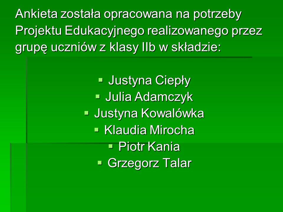 Ankieta została opracowana na potrzeby Projektu Edukacyjnego realizowanego przez grupę uczniów z klasy IIb w składzie: Justyna Ciepły Justyna Ciepły J