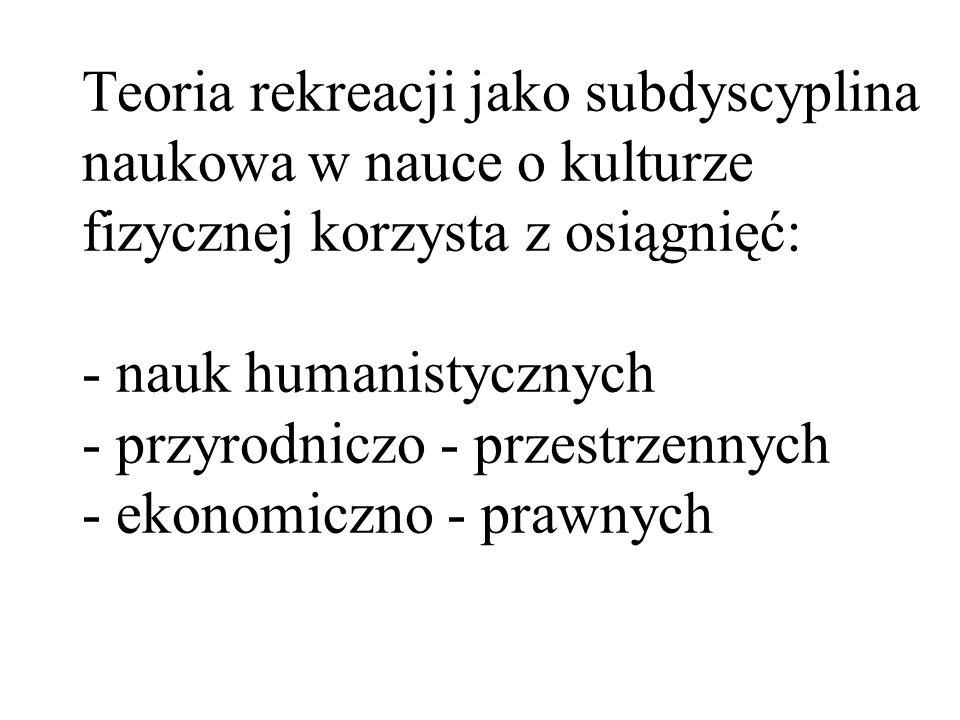 Teoria rekreacji jako subdyscyplina naukowa w nauce o kulturze fizycznej korzysta z osiągnięć: - nauk humanistycznych - przyrodniczo - przestrzennych