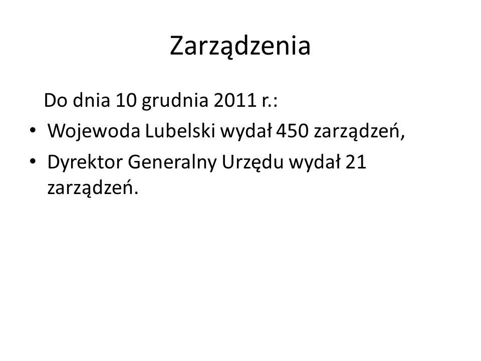 Zarządzenia Do dnia 10 grudnia 2011 r.: Wojewoda Lubelski wydał 450 zarządzeń, Dyrektor Generalny Urzędu wydał 21 zarządzeń.