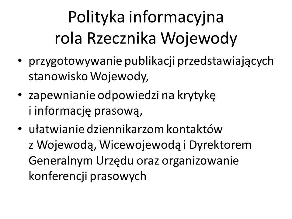 Polityka informacyjna rola Rzecznika Wojewody przygotowywanie publikacji przedstawiających stanowisko Wojewody, zapewnianie odpowiedzi na krytykę i in