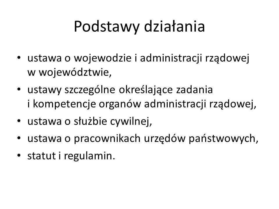 Podstawy działania ustawa o wojewodzie i administracji rządowej w województwie, ustawy szczególne określające zadania i kompetencje organów administra