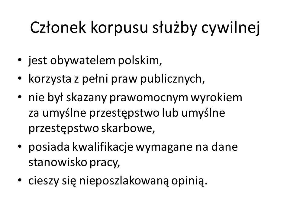 Członek korpusu służby cywilnej jest obywatelem polskim, korzysta z pełni praw publicznych, nie był skazany prawomocnym wyrokiem za umyślne przestępst