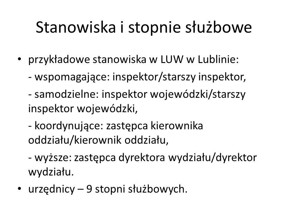 Stanowiska i stopnie służbowe przykładowe stanowiska w LUW w Lublinie: - wspomagające: inspektor/starszy inspektor, - samodzielne: inspektor wojewódzk