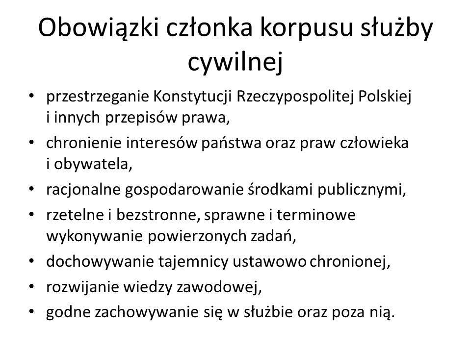 Obowiązki członka korpusu służby cywilnej przestrzeganie Konstytucji Rzeczypospolitej Polskiej i innych przepisów prawa, chronienie interesów państwa