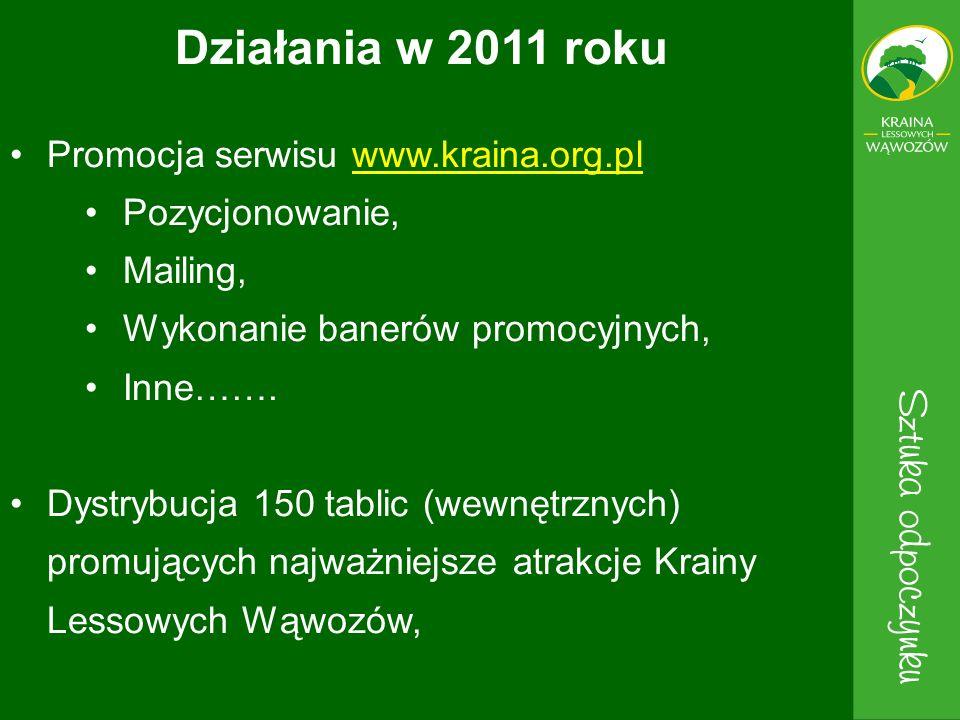 Promocja serwisu www.kraina.org.plwww.kraina.org.pl Pozycjonowanie, Mailing, Wykonanie banerów promocyjnych, Inne……. Dystrybucja 150 tablic (wewnętrzn