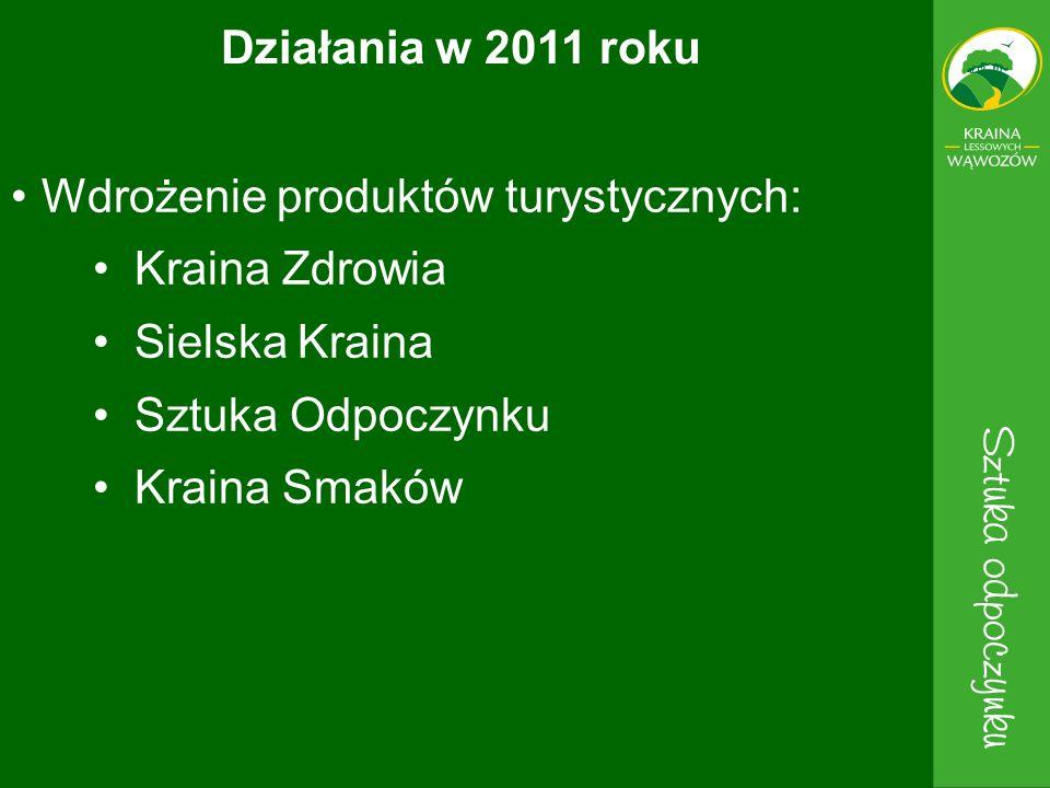 Wdrożenie produktów turystycznych: Kraina Zdrowia Sielska Kraina Sztuka Odpoczynku Kraina Smaków Działania w 2011 roku