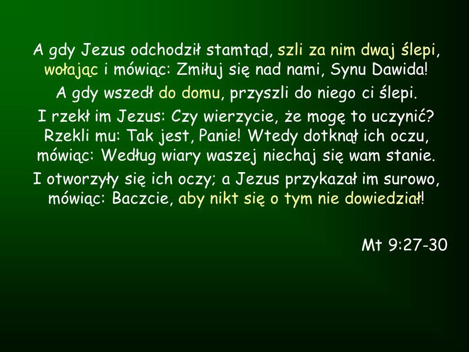 A gdy Jezus odchodził stamtąd, szli za nim dwaj ślepi, wołając i mówiąc: Zmiłuj się nad nami, Synu Dawida! A gdy wszedł do domu, przyszli do niego ci