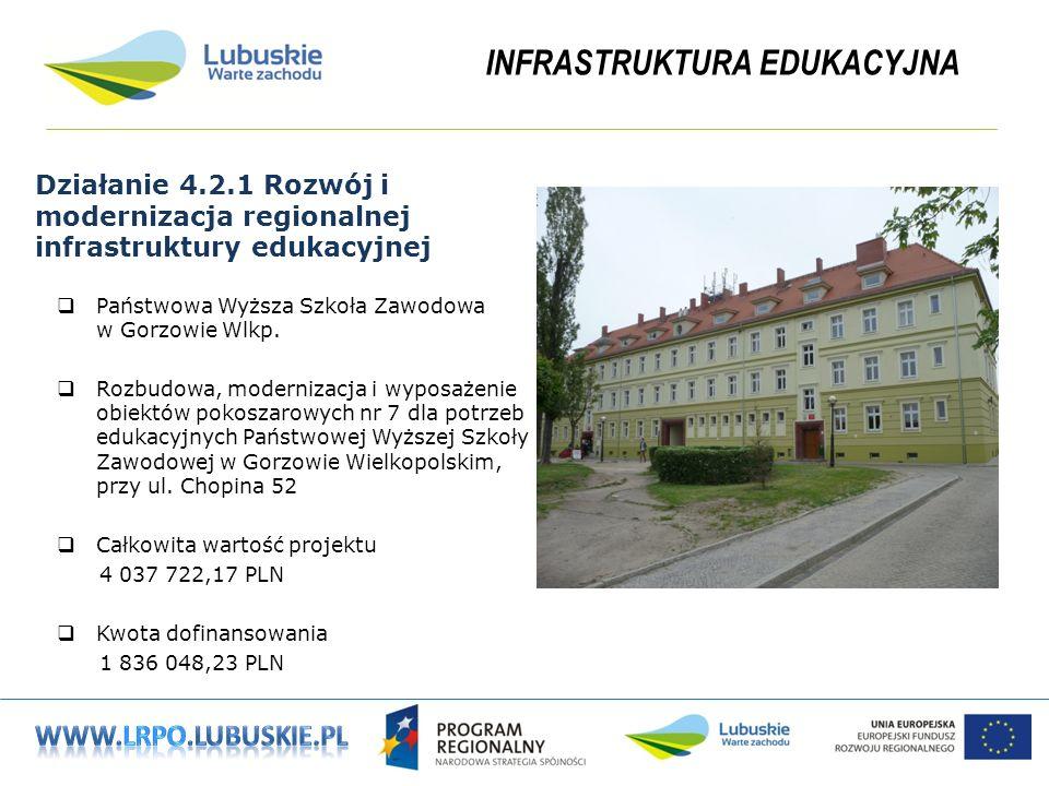 INFRASTRUKTURA EDUKACYJNA Działanie 4.2.1 Rozwój i modernizacja regionalnej infrastruktury edukacyjnej Państwowa Wyższa Szkoła Zawodowa w Gorzowie Wlkp.